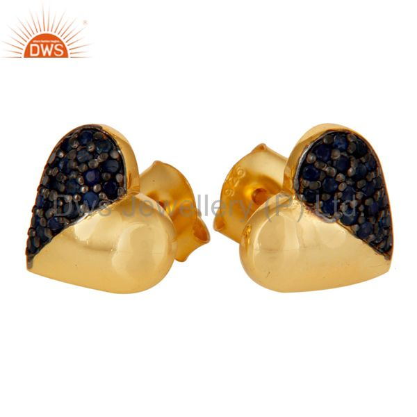 Suppliers Blue Sapphire and 18K Gold Plated Sterling Silver Heart Shape Stud Earring