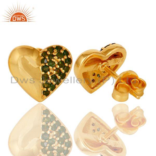 Suppliers Green Tourmaline and 18K Gold Plated Sterling Silver Heart Shape Stud Earring