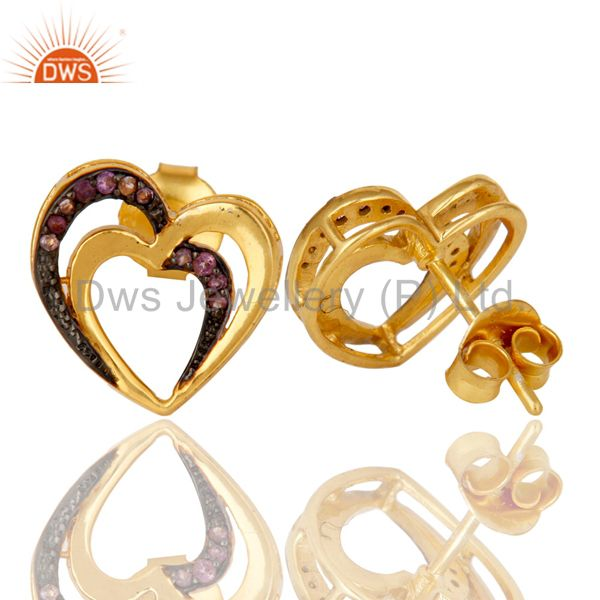 Suppliers Amethyst and 18K Gold Plated Sterling Silver Heart Shape Ear Stud