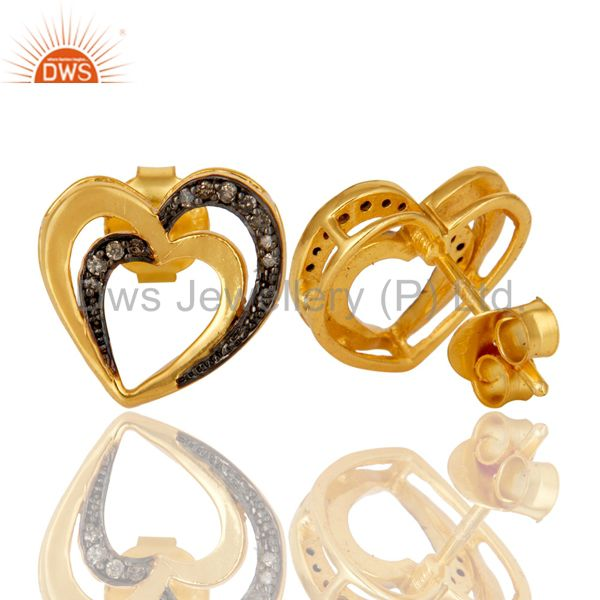 Suppliers 18K Gold Plated 925 Sterling Silver Heart Design Pave Diamond Earrings Jewelry