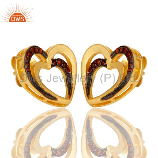 Suppliers Garnet and 18K Gold Plated Sterling Silver Heart Shape Ear Stud