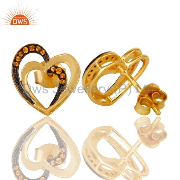 Suppliers Spessartite and 18K Gold Plated Sterling Silver Heart Shape Ear Stud