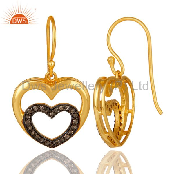 Suppliers Diamond and 18K Gold Plated Sterling Silver Heart Design Ear Stud