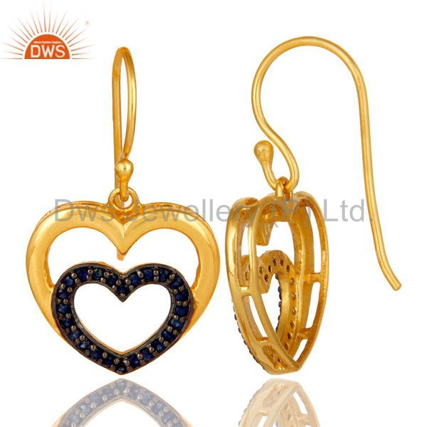 Suppliers Blue Sapphire and 18K Gold Plated Sterling Silver Heart Design Ear Stud