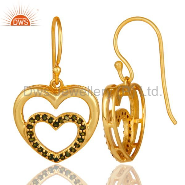 Suppliers Green Tourmaline and 18K Gold Plated Sterling Silver Heart Design Ear Stud