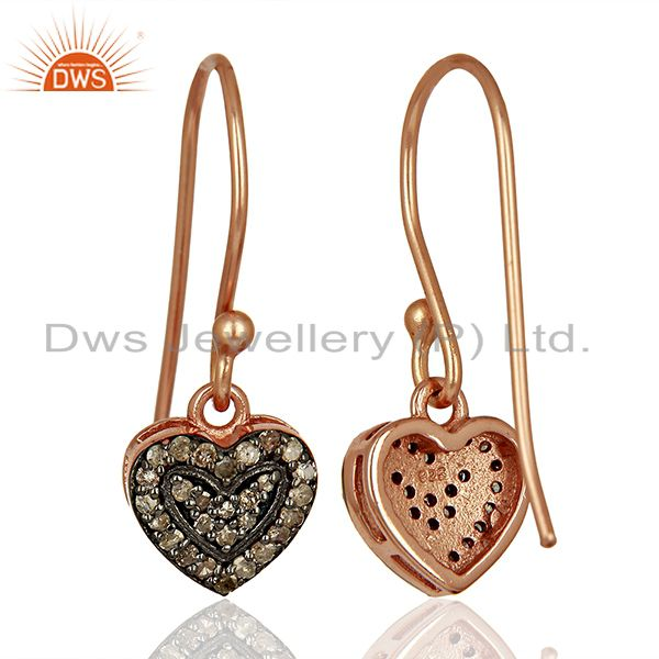 Suppliers Heart Shape Rose Gold Plated Silver Pave Diamond Earrings Manufacturer