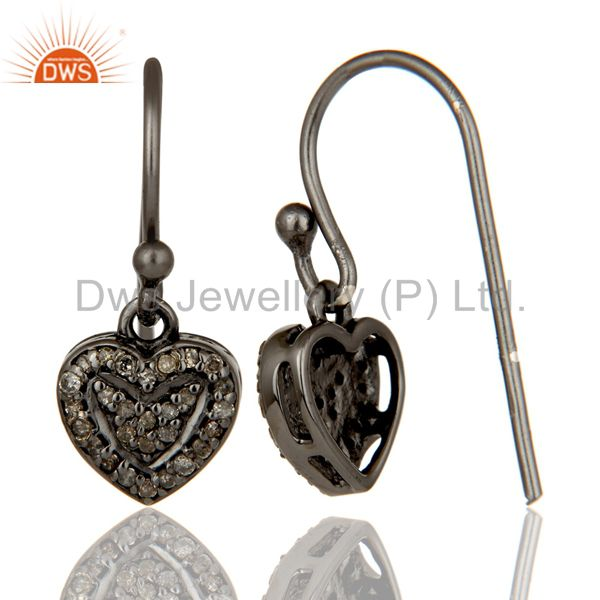 Suppliers Diamond and Oxidized Sterling Silver Heart Designer Earring