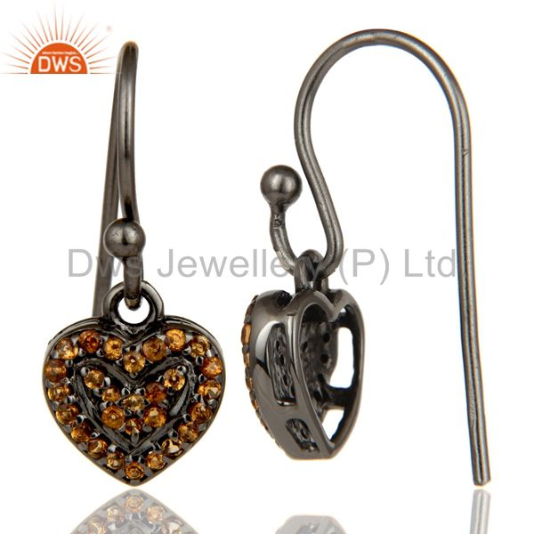 Suppliers Spessartite and Oxidized Sterling Silver Heart Design Earring