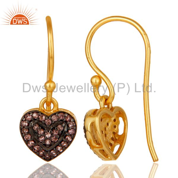 Suppliers Pink Tourmaline and 18K Gold Plated Sterling Silver Heart Designer Ear Stud