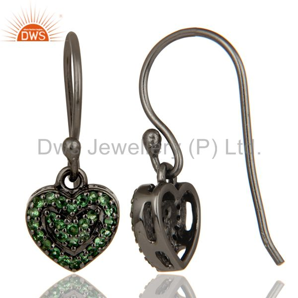 Suppliers Tsavourite and Oxidized Sterling Silver Heart Design Ear Stud