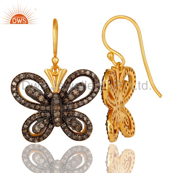 Suppliers Diamond and 18K Gold Plated Sterling Silver Butterfly Drop Earring