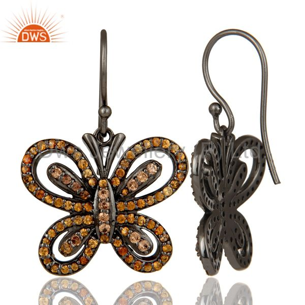Suppliers Spessartite and Oxidized Sterling Silver Butterfly Drop Earring