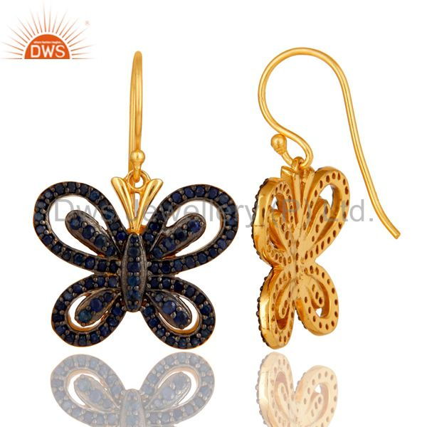 Suppliers Blue Sapphire and 18K Gold Plated Sterling Silver Butterfly Drop Earring