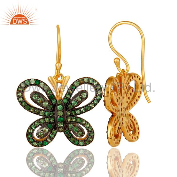 Suppliers Tsavourite and 18K Gold Plated Sterling Silver Butterfly Drop Earring
