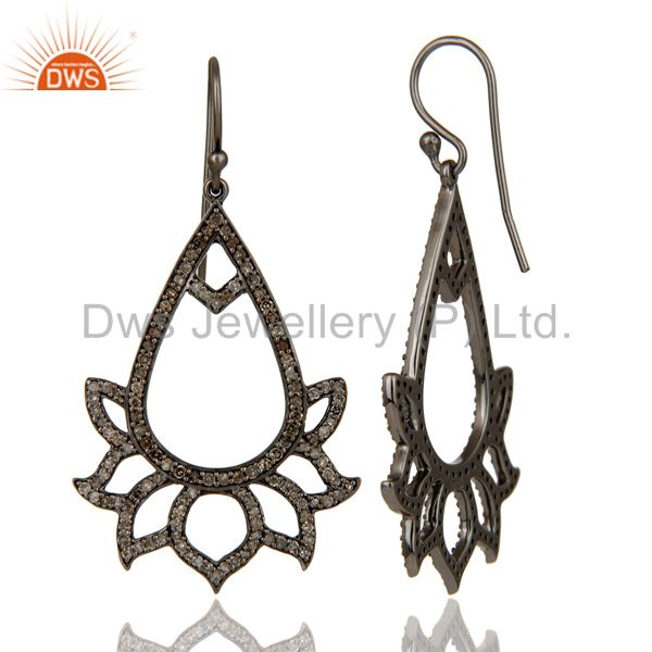 Suppliers 925 Sterling Silver Oxidized Handmade Pave Diamond Lotus Design Earrings Jewelry