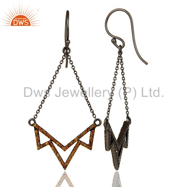 Suppliers Spessartite Cut Stone Lotus Dangler Earring Oxidized Sterling Silver Earring