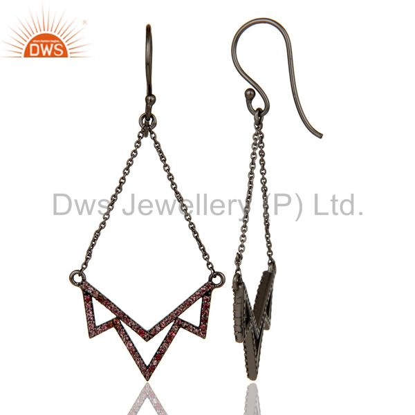Suppliers Pink Tourmaline Stone Lotus Dangler Earring Oxidized 925 Sterling Silver Earring