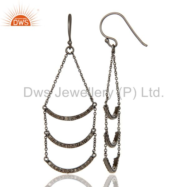 Suppliers Lotus Dangler Earring Oxidized Sterling Silver Earring with Diamond