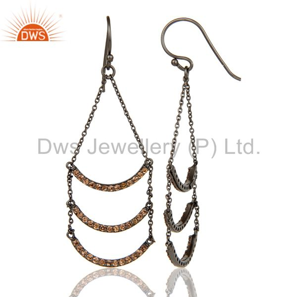 Suppliers Spessartite Lotus Dangler Earring Oxidized Sterling Silver Earring