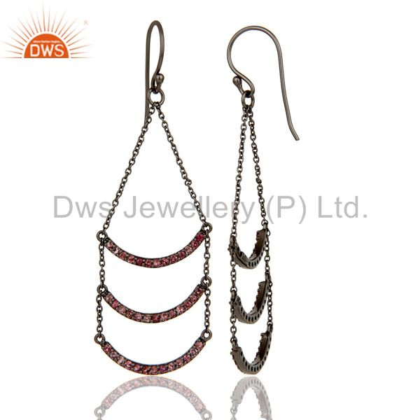Suppliers Pink Tourmaline Lotus Dangler Earring Oxidized 925 Sterling Silver Earring