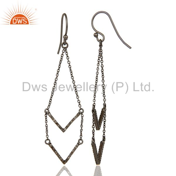 Suppliers Black Oxidized 925 Sterling Silver Pave Diamond Filigree Woman Earring Jewelry