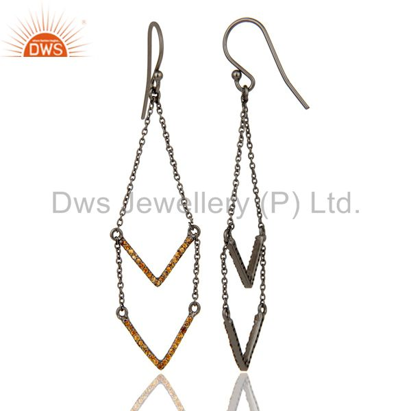 Suppliers Spessartite and Black Oxidized Sterling Silver V shae Drop Dangler Earring