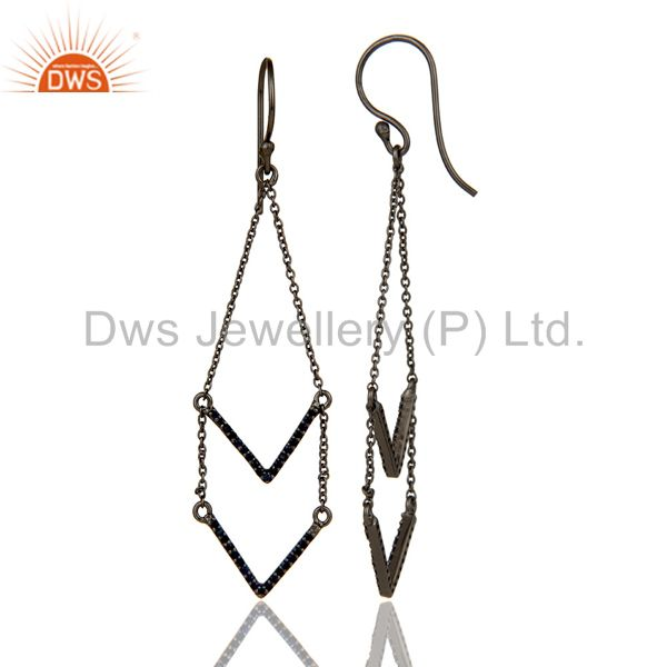 Suppliers Blue Sapphire and Black Oxidized Sterling Silver V shae Drop Dangler Earring