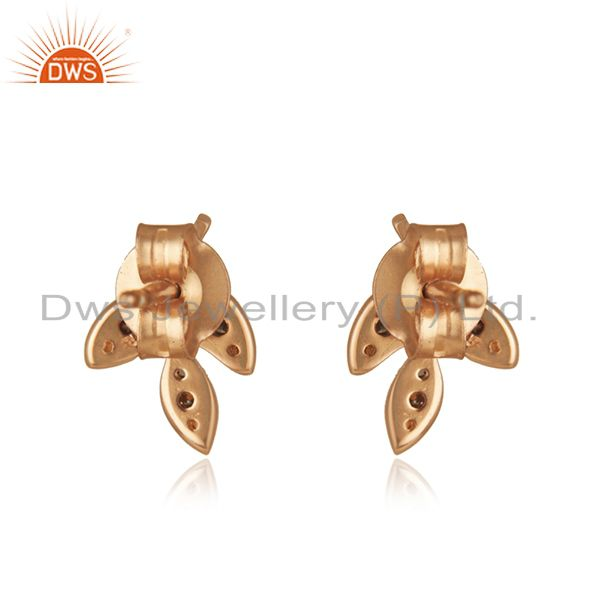 Suppliers Leaf Design Rose Gold Plated Pave Diamond Stud Earrings Supplier