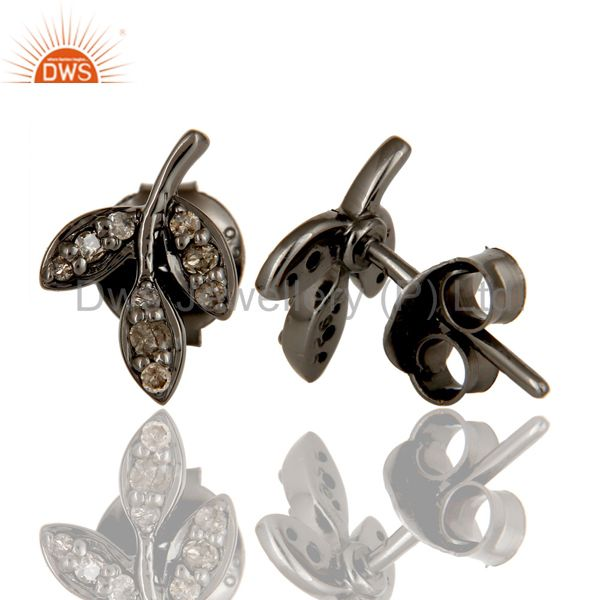 Suppliers Diamond and Black Oxidized Sterling Silver Leaf Style Stud Earring