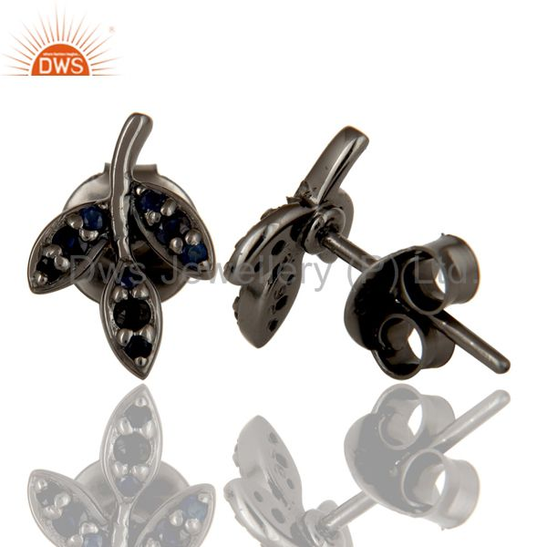 Suppliers Blue Sapphire and Black Oxidized Sterling Silver Leaf Style Stud Earring