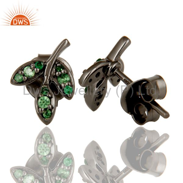 Suppliers Tsavourite and Black Oxidized Sterling Silver Leaf Style Stud Earring