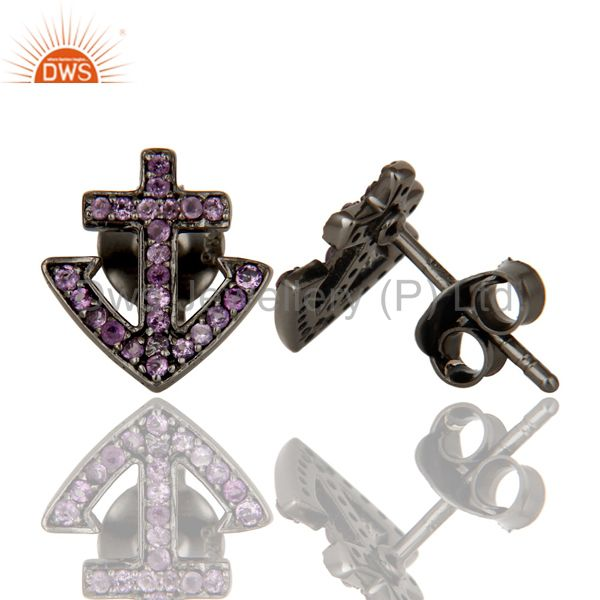 Suppliers Amethyst and Sterling Silver Black Oxidized Cross Style Stud Earring