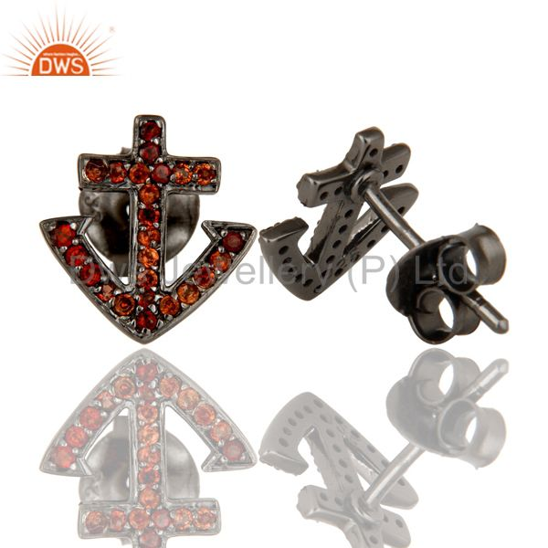 Suppliers Garnet and Sterling Silver Black Oxidized Cross Style Stud Earring