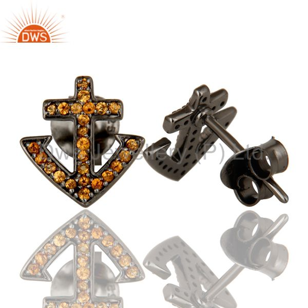 Suppliers Spessartite and Sterling Silver Black Oxidized Cross Style Stud Earring