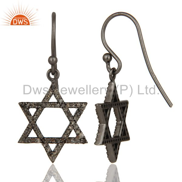 Suppliers Diamond with Sterling Silver Black Oxidized Star Style Stud Earring
