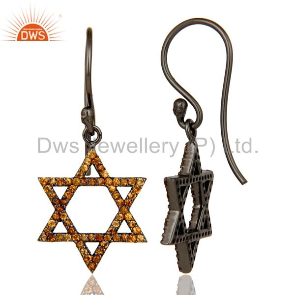 Suppliers Spessartite with Sterling Silver Black Oxidized Star Style Drops Earring