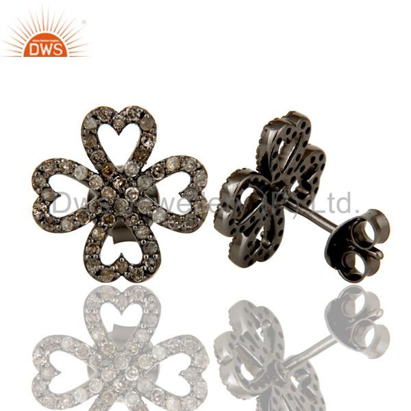 Suppliers Diamond and Oxidized Sterling Silver Heart Flower Design Stud Earring