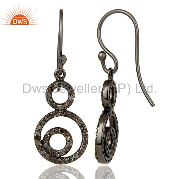 Suppliers Handmade Black Oxidized Sterling Silver Dangle Design Earrings with Diamond Cut
