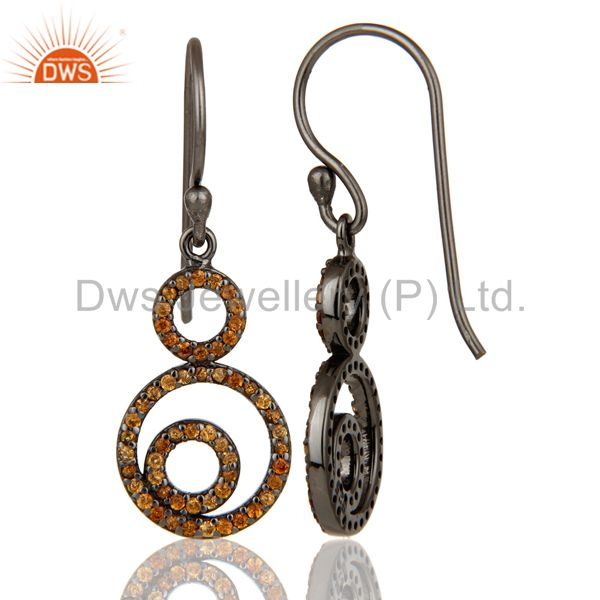 Suppliers Handmade Black Oxidized Sterling Silver Dangle Design Earrings with Spessartite