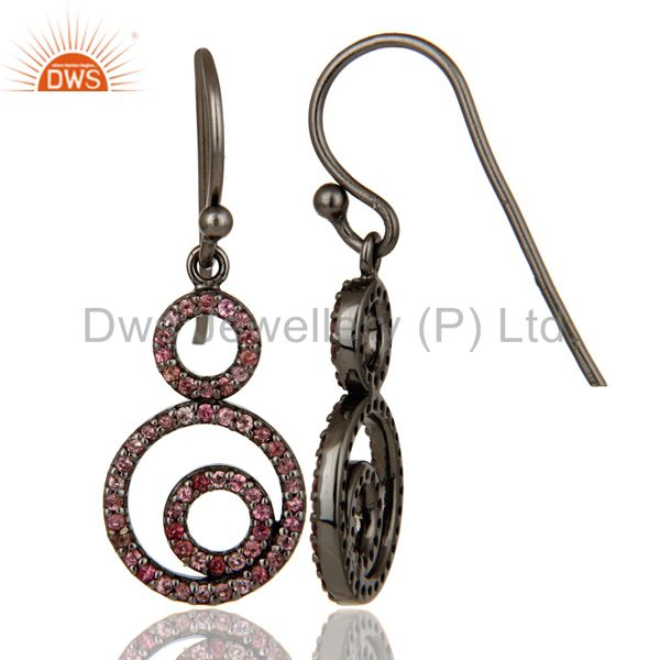 Suppliers Handmade Black Oxidized Sterling Silver Dangle Design Earrings with Tourmaline