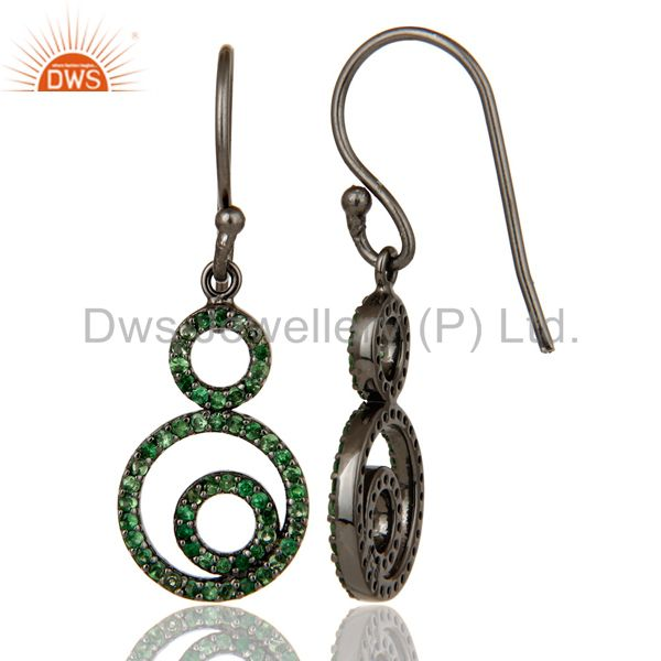 Suppliers Handmade Black Oxidized Sterling Silver Dangle Design Earrings with Tsavourite