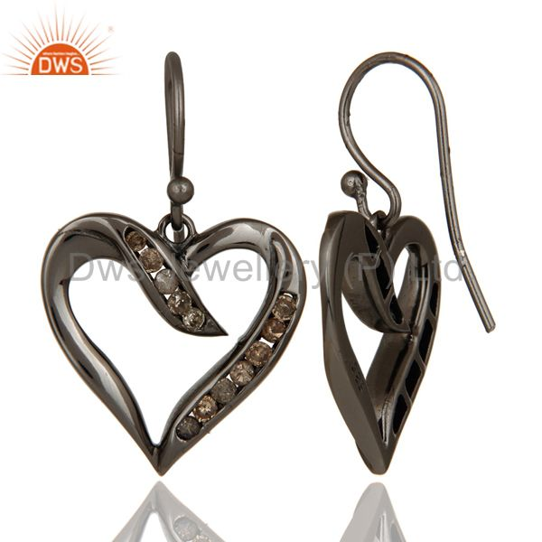 Suppliers Heart Shape Earring Diamond and Oxidized Sterling Silver Designer Earring
