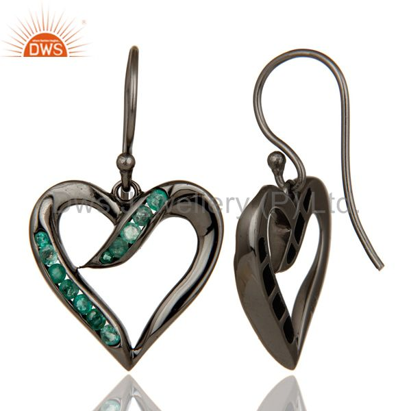 Suppliers Heart Shape Earring Emerald and Oxidized Sterling Silver Designer Earring