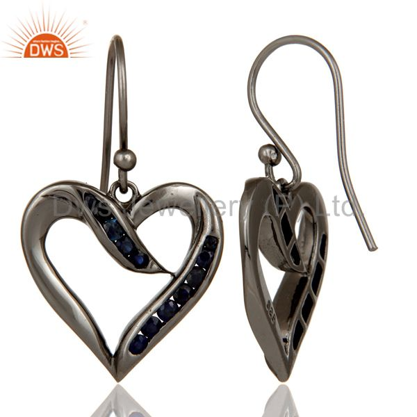 Suppliers Heart Shape Earring Blue Sapphire and Oxidized Sterling Silver Designer Earring