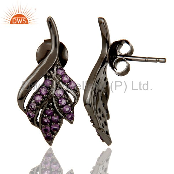 Suppliers Leaf Rame Design Amethyst and Oxidized Sterling Silver Stud Earring
