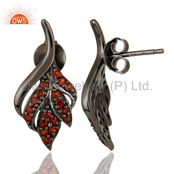 Suppliers Leaf Rame Design Garnet and Oxidized Sterling Silver Stud Earring