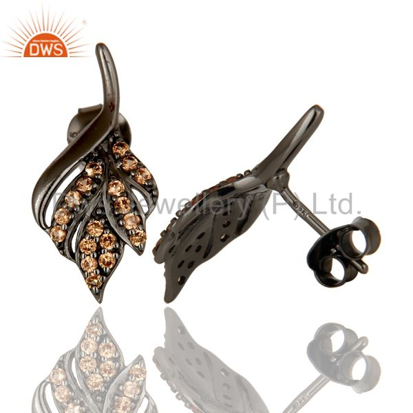 Suppliers Leaf Rame Design Spessartite and Oxidized Sterling Silver Stud Earring