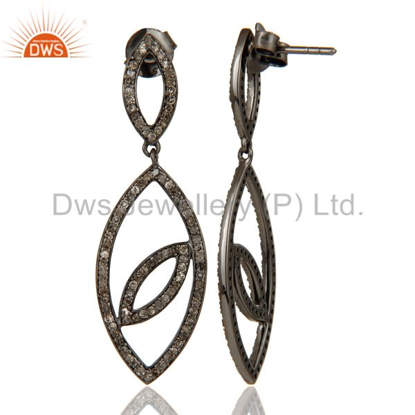 Suppliers Handmade Eyes Design Dangle Diamond Oxidized Sterling Silver Earrings