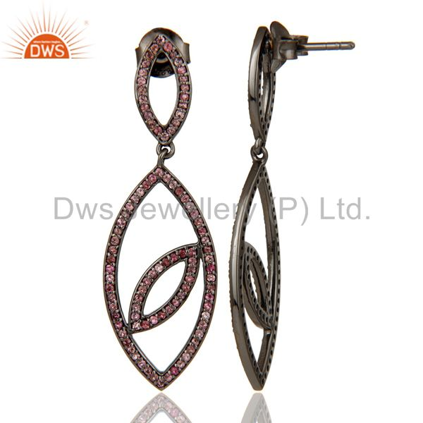 Suppliers Handmade Eyes Design Dangle Tourmaline with Oxidized Sterling Silver Earrings