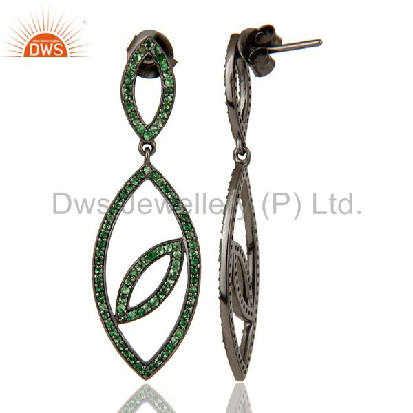 Suppliers Handmade Eyes Design Dangle Tsavorite with Oxidized Sterling Silver Earrings